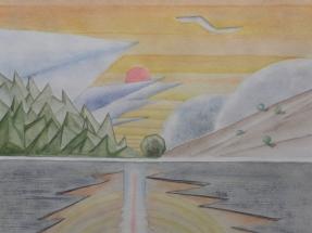 Geometrischer Sonnenuntergang